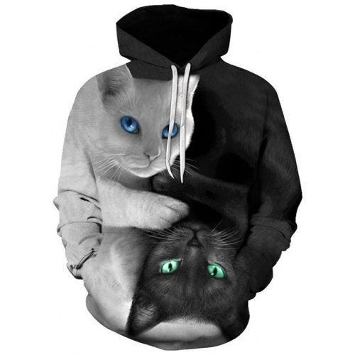 Men's Cat Printing Hoodie Trend Hooded Pullover Casual Slim Top- Multi-B XL