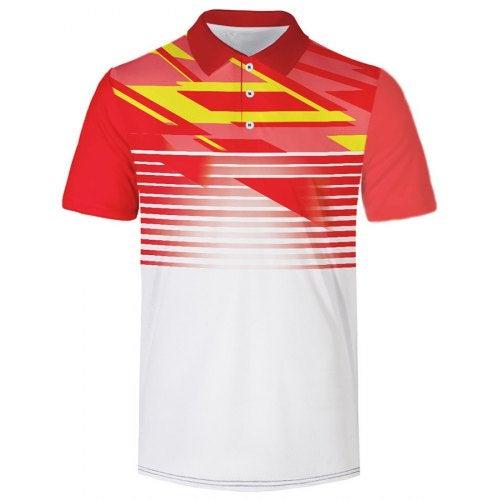 Men's Short Sleeve Print T-shirt Outdoor Casual- Red 3XL