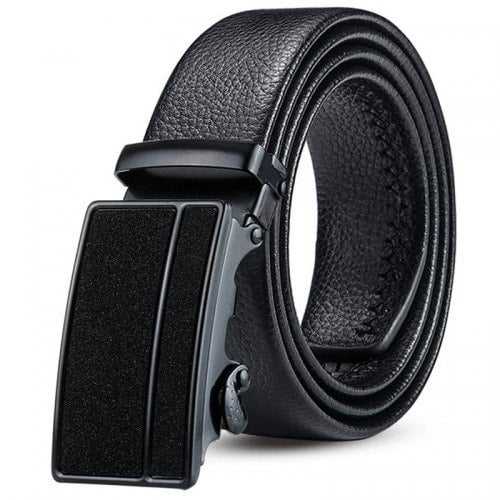 Men's Starry Sky Automatic Buckle Belt Youth Double Edging Coverage Scratch Resistant Waistband- Black