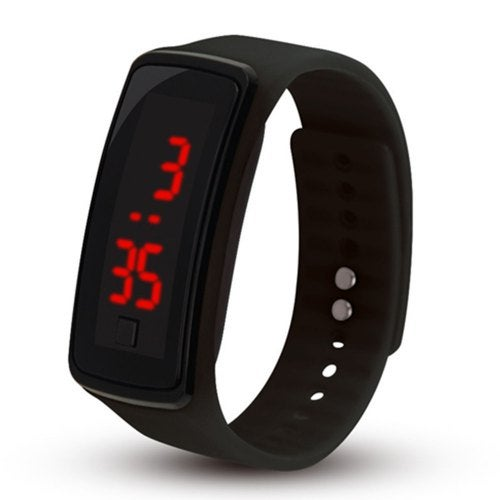 Men Women LED Digital Bracelet Watch- Black