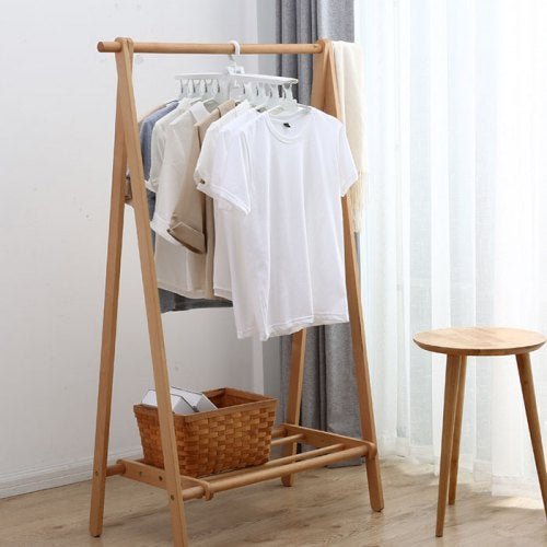 Multi-functional Clothes Rack Foldable Telescopic No Trace Hanger- Milk White