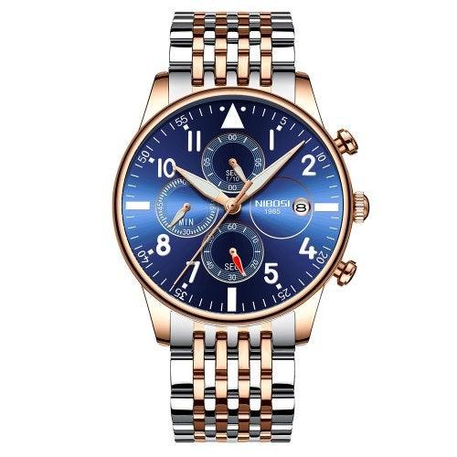 NIBOSI 2368 Men's Watches Military Luxury Brand QuartzWatch Mens- Dodger Blue