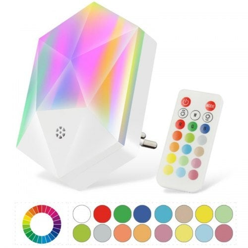 RGB Remote Control Night Light 16 Colors Colorful Atmosphere Intelligent Dimmable Baby Room Lamp- White EU Plug