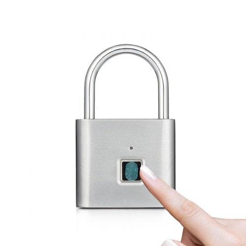 Safety Keyless Lock USB Battery Door Lock Fingerprint Smart Padlock Quick Unlock- Silver