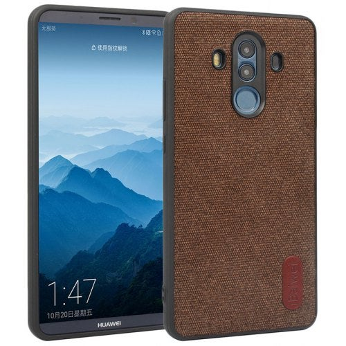 Simple and Fashionable Fabric Pattern Anti-fall Sticker Mobile Phone Case for HUAWEI Mate 10 Pro- Brown