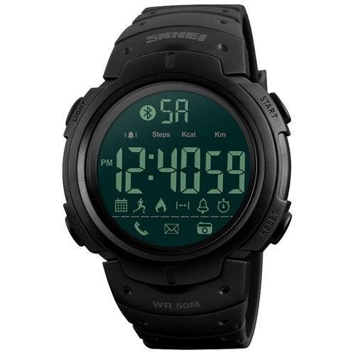 SKMEI Smart Men Calorie Pedometer Bluetooth Remote Camera Watch- Black