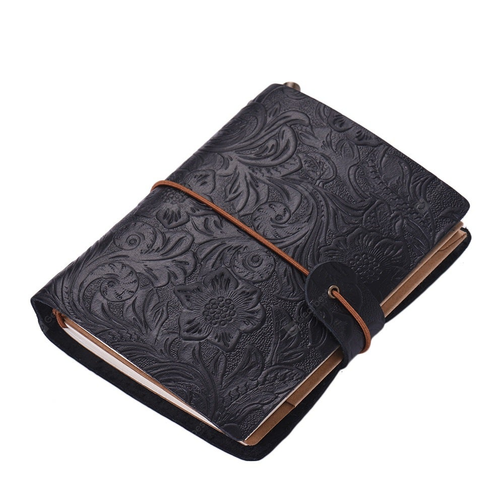 SP1361 Creative Vintage Leather Notebook Travel Carved Diary Book- Black