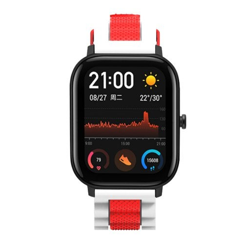 TAMISTER Three Beads Wave Silicone Two-color Replacement Strap for Amazfit GTS Smart Watch- Multi-G