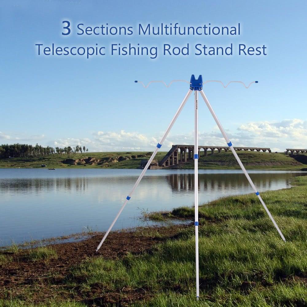 \u200b 3 Sections Multifunctional Portable Telescopic Fishing Rod Stand Rest Sea Fishing Tripod Rod Holder Sea Beach Coarse Shore Pier Tackle blau