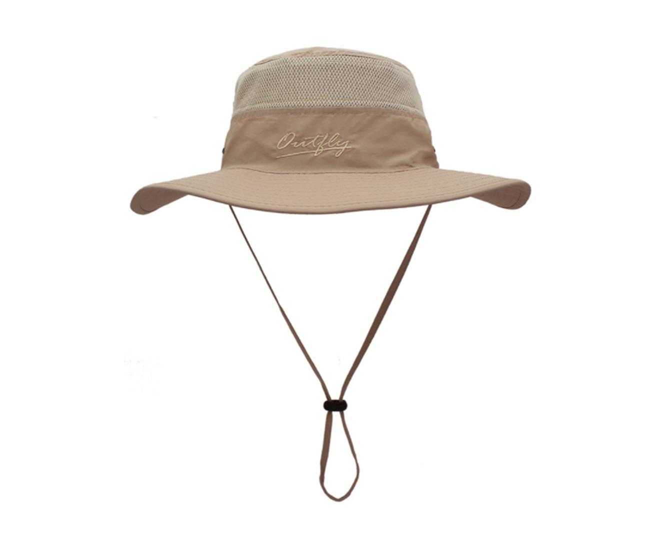 Unisex Wide Brim Sun Hat,Outdoor UPF 50+ Waterproof Boonie Hat Summer UV Protection Sun Caps-KHAKI