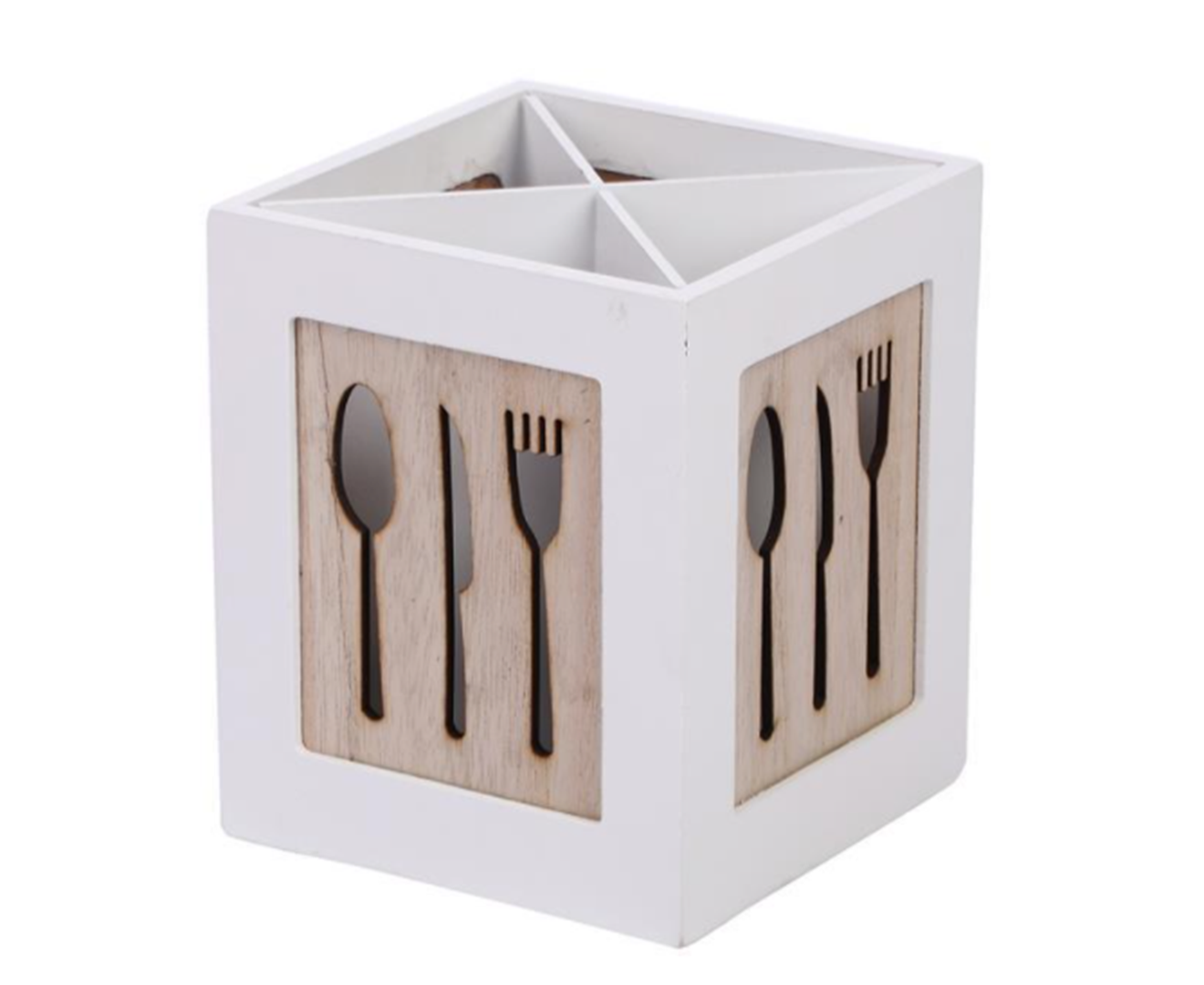Utensil Holder,Kitchen Cutlery Organizer Solid Wood Bamboo Flatware Caddy for Countertop for Spoons Knives Forks Chopsticks Natural Color-WHITE