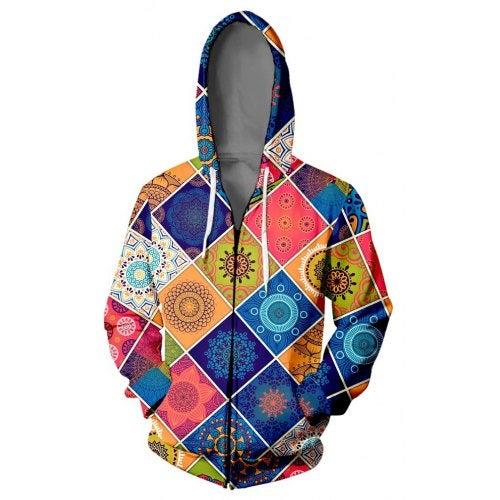 V01358 3D Printed Hooded Sweater Coat- V01358 YH07 M China