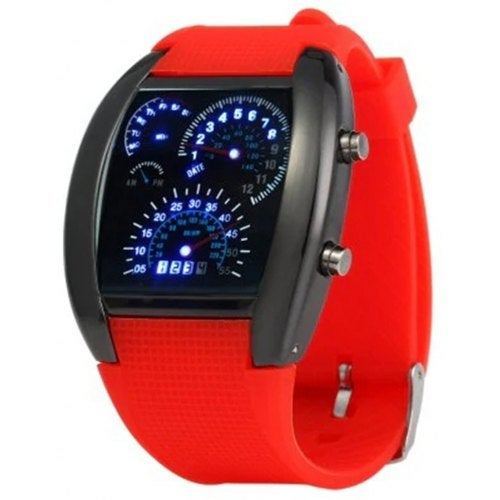 V5 Blue LED Car Arch Dial and Silicon Watch- Multi-C