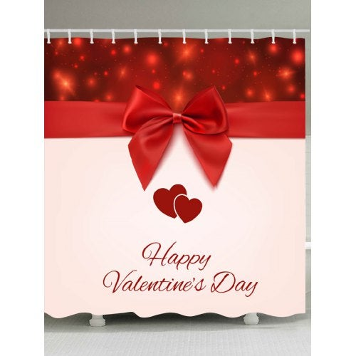 Valentine's Day BowKnot Hearts Pattern Shower Curtain- Red and Pink W71 inch * L71 inch