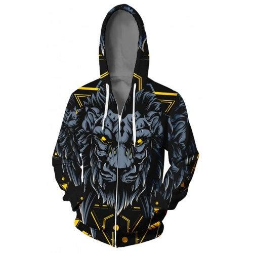 WAWNI 2019 Lion Zipper Hooded Sweatshirt poleron hombre con capucha Loose Zipper- V02214 YH07 XXL China