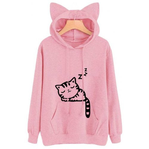 Women'S Loose Cat Hooded Sweater- Pink S
