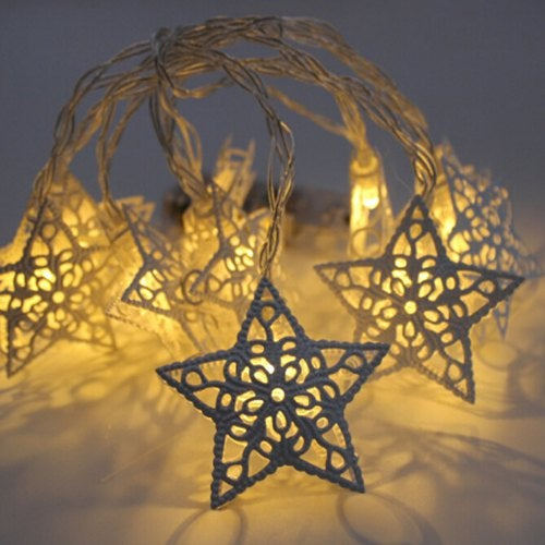 Wrought Iron Five-pointed Star Battery Style String Light for Christmas Decoration- Warm White