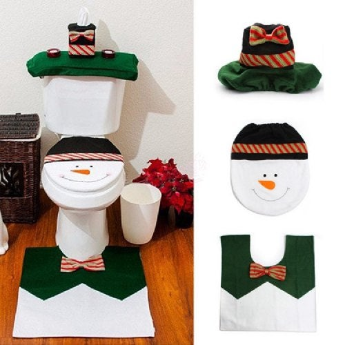 Yeduo 1 Sets Happy Snowman Christmas Bathroom Set Toilet Seat Cover Rug Xmas Decoration Year Decorations- Colormix
