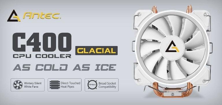 Antec C400 GLACIAL White Air CPU Cooler 12CM PWM 77 CFM Fan, 8mm Copper Base. 115X, 1200, 2011, 2066, AM3, AM3+, AM4 FM1, FM2, FM2+ 3 Years Warranty