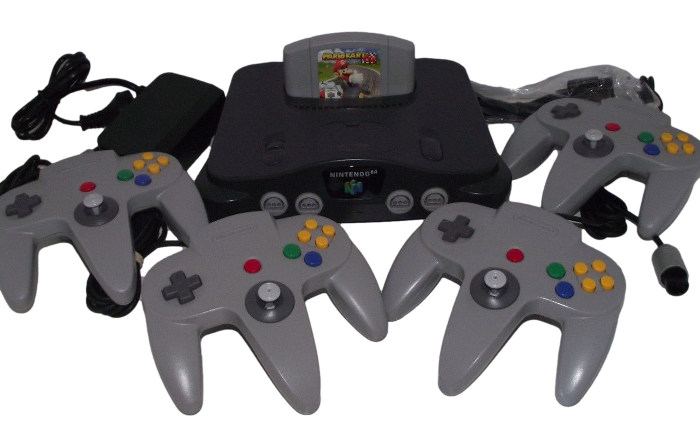 Nintendo 64 Console + 4 Controllers + Mario Kart N64 PAL Refurbed Bundle (Preowned)
