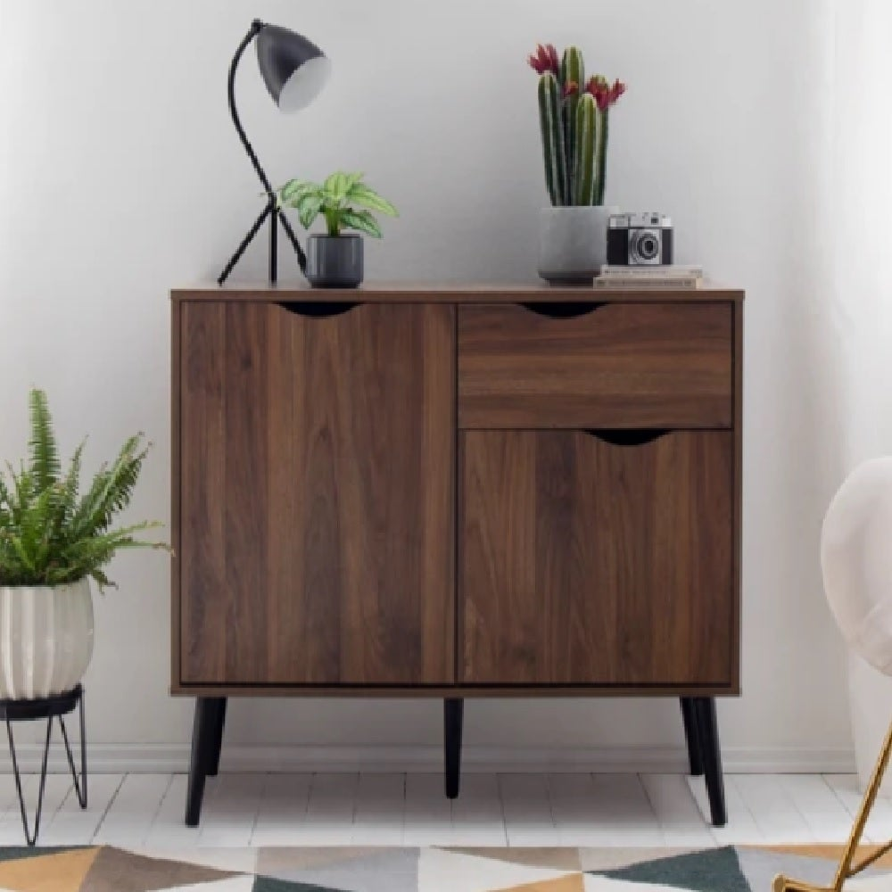 COSMOLIVING BUFFET SIDEBOARD CABINET 100CM CONTEMPORARY 2 DOOR 1 DRAWER BUFFET TABLE