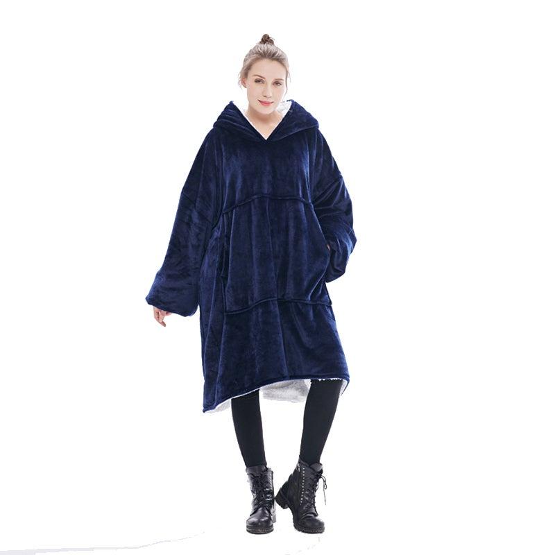 Luxplus - Navy Blue Blanket Hoodie For Adults