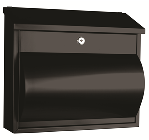 LETTERBOX WALL MOUNT BLACK SS COMET A4 MAILBOX