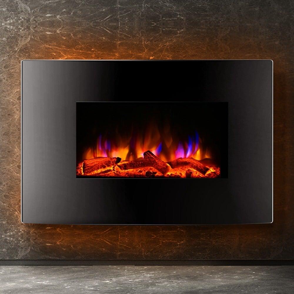 Devanti 2000W Wall Mounted Electric Fireplace Fire Log Wood Heater Realistic Flame