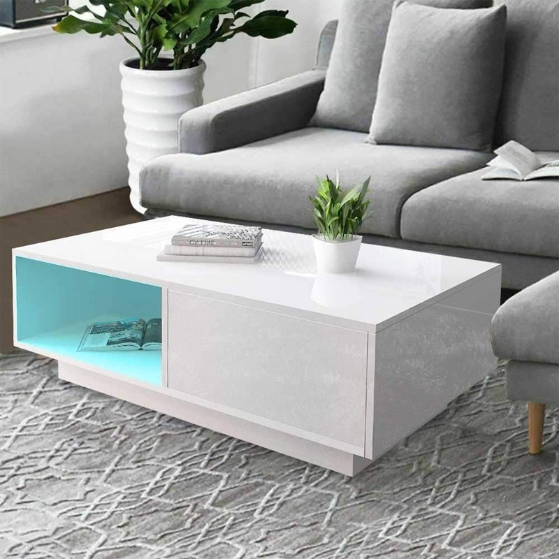 LED High Gloss Cabinet Coffee Table White