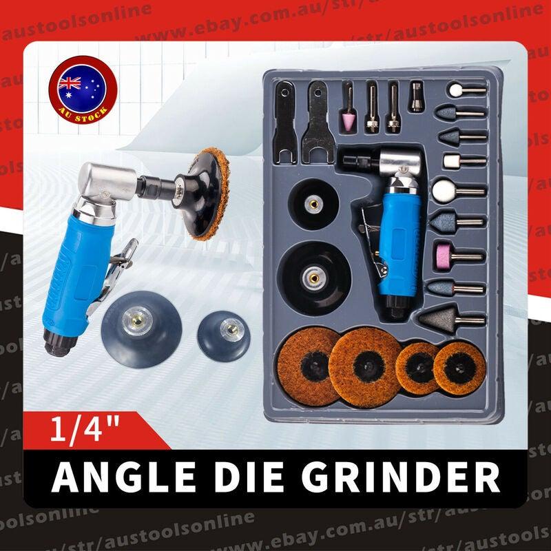 "23pcs Air Angle Die Grinder -1/4"" Mini Pneumatic Polishing Carving Tool Kit AU"