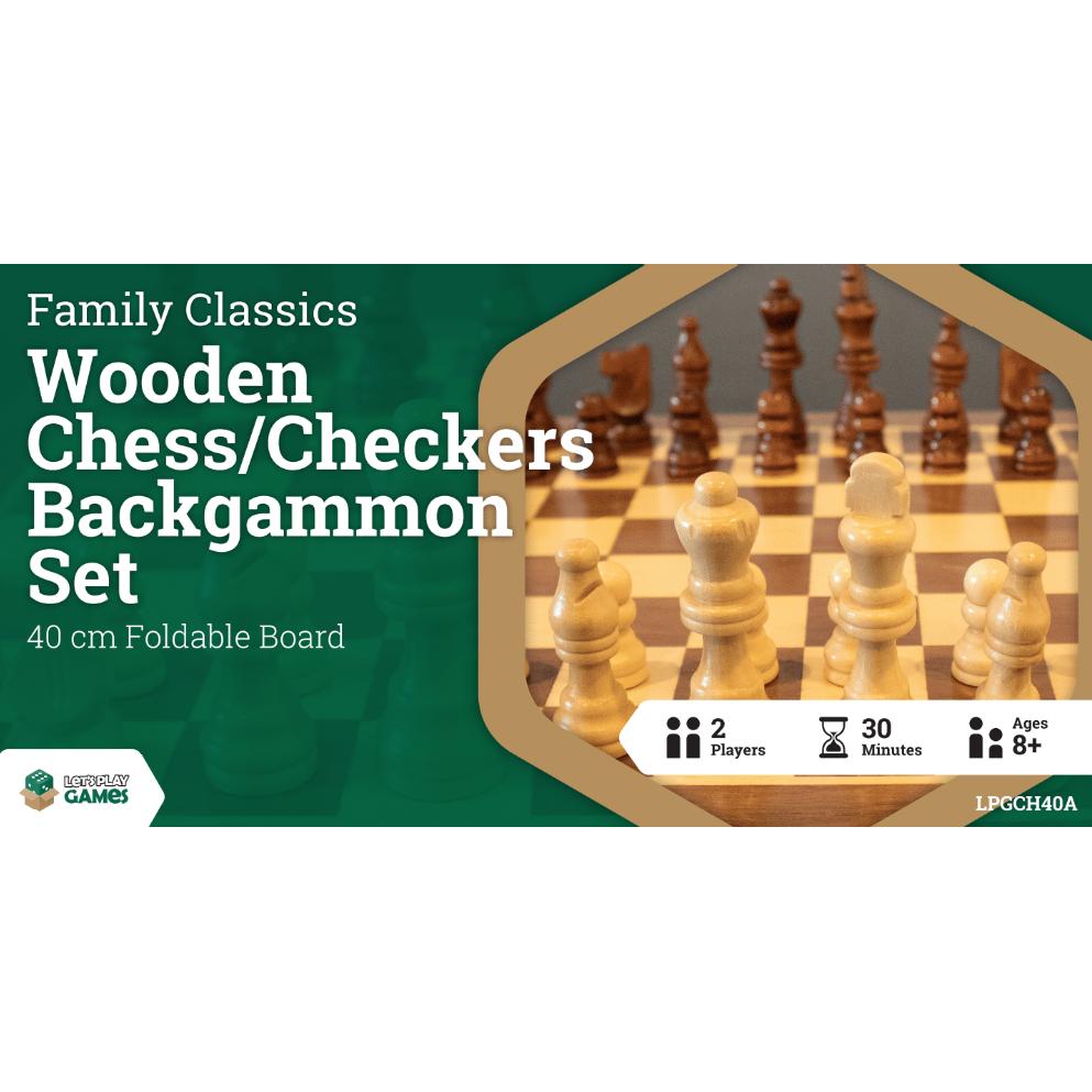 Wooden Folding Chess/Checkers/Backgammon Set 40cm
