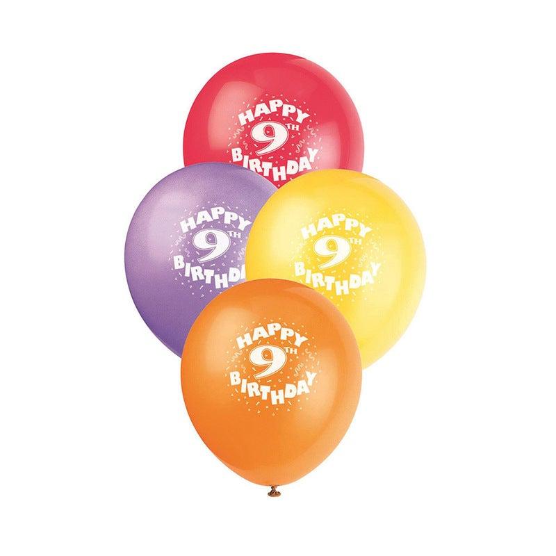 30cm 9th Birthday Printed Balloons 6 Pack