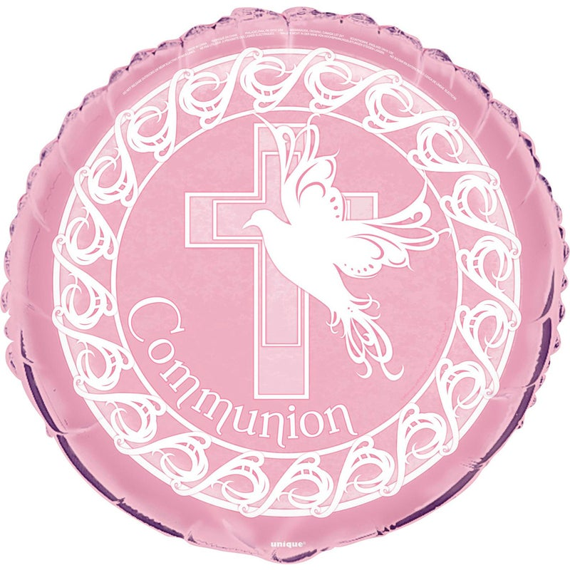 45cm Dove Cross Pink Communion Foil Balloon Packaged