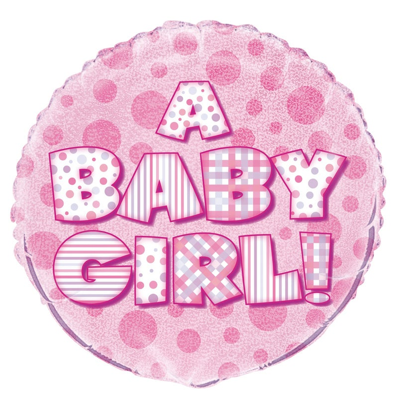 Baby Girl 45cm Foil Prismatic Balloons Packaged