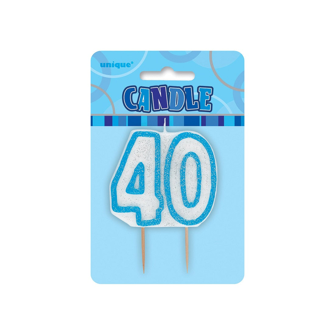 Glitz Blue Number Candle - 40