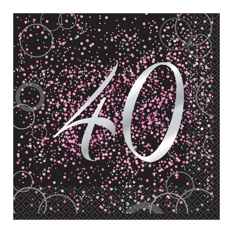 Glitz Pink Foil stamped 40 Luncheon Napkins 16 Pack