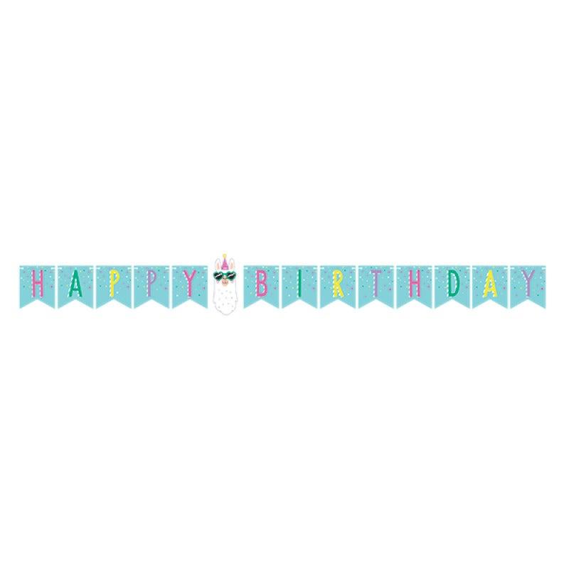 Llama Party Happy Birthday String Banner
