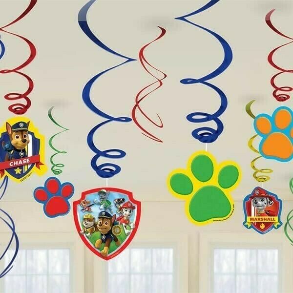 Paw Patrol Hanging Swirls 12 Pack