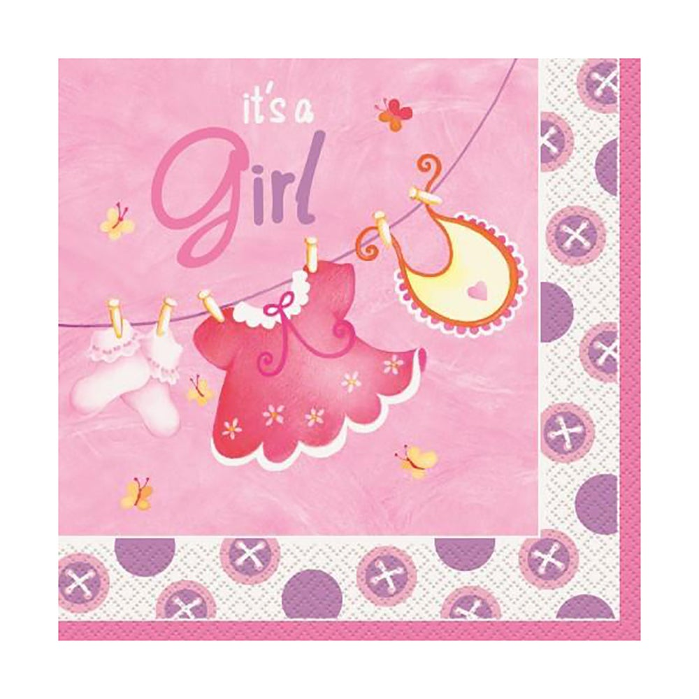 Pink Clothesline Luncheon Napkins 16 Pack