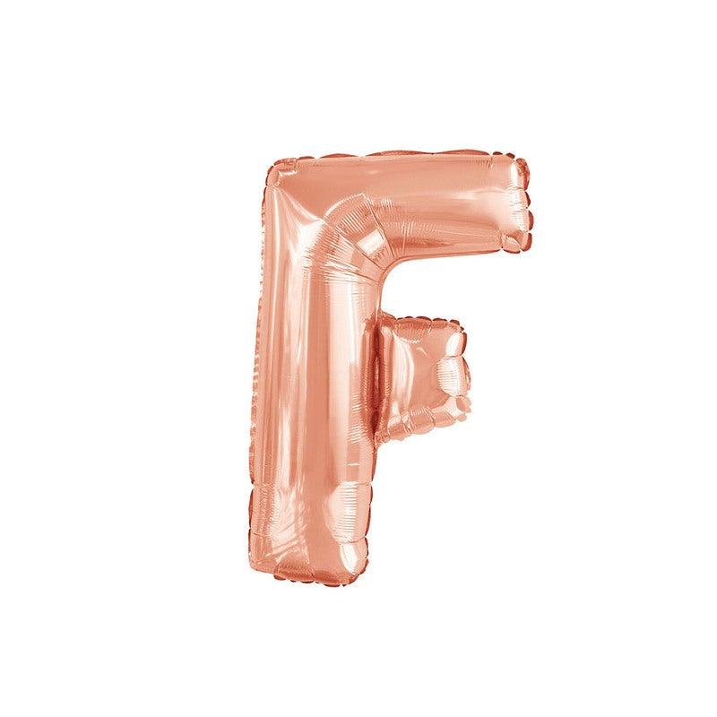 Rose Gold F Letter Foil Balloon 35cm