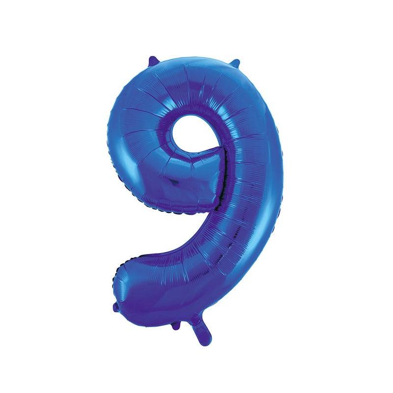 Royal Blue 9 Number Foil Balloon 86cm