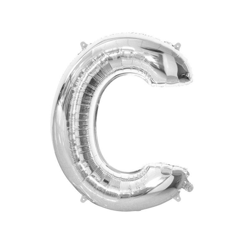 Silver C Letter Foil Balloon 86cm
