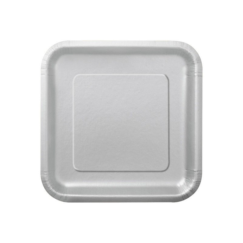 Silver Square Pack Paper Plates 22cm 14 Pack