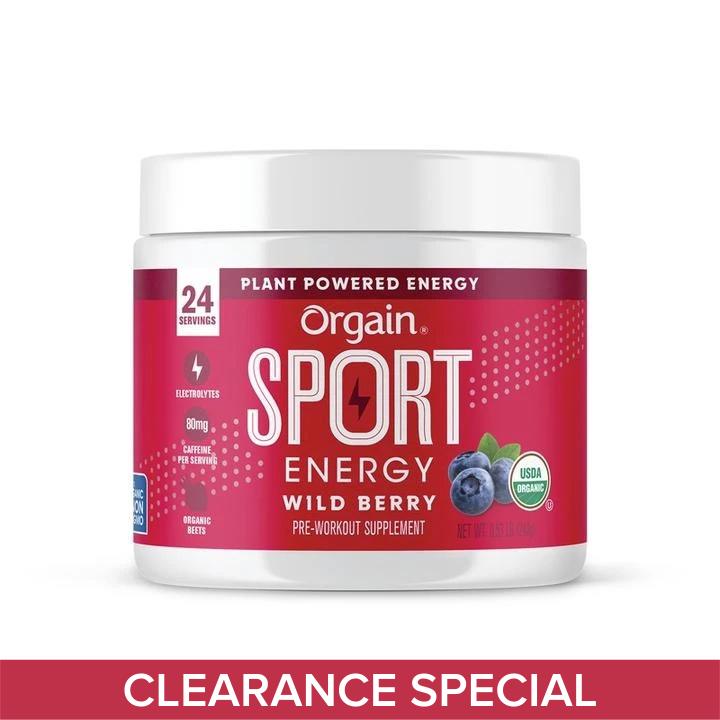 Orgain Sport Energy Organic Plant Based Powder - Wild Berry 240g