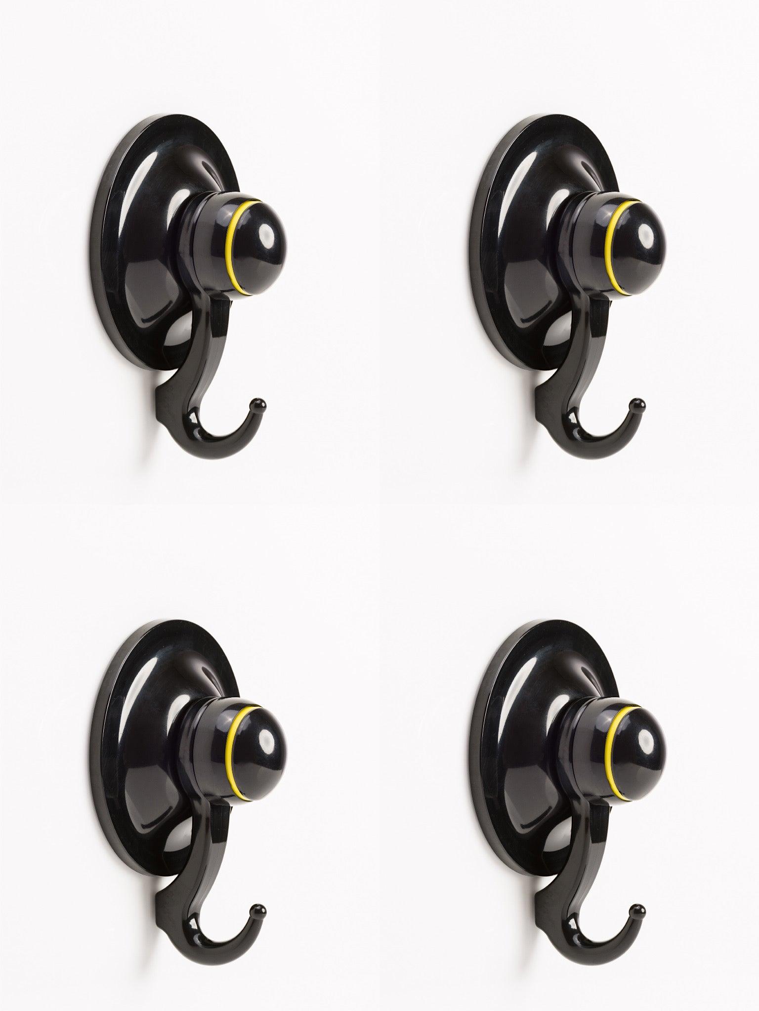 KiahLoc 4pcs Gift Pack Suction Hook Large(72mm) - Black
