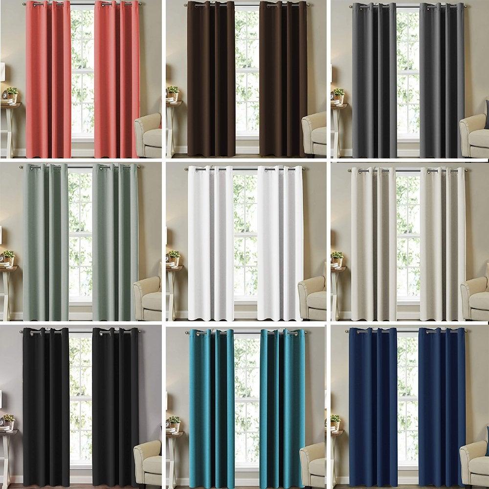 2X Blockout Curtains Blackout Curtain Bedroom Window Eyelet Draperies Pair AUS