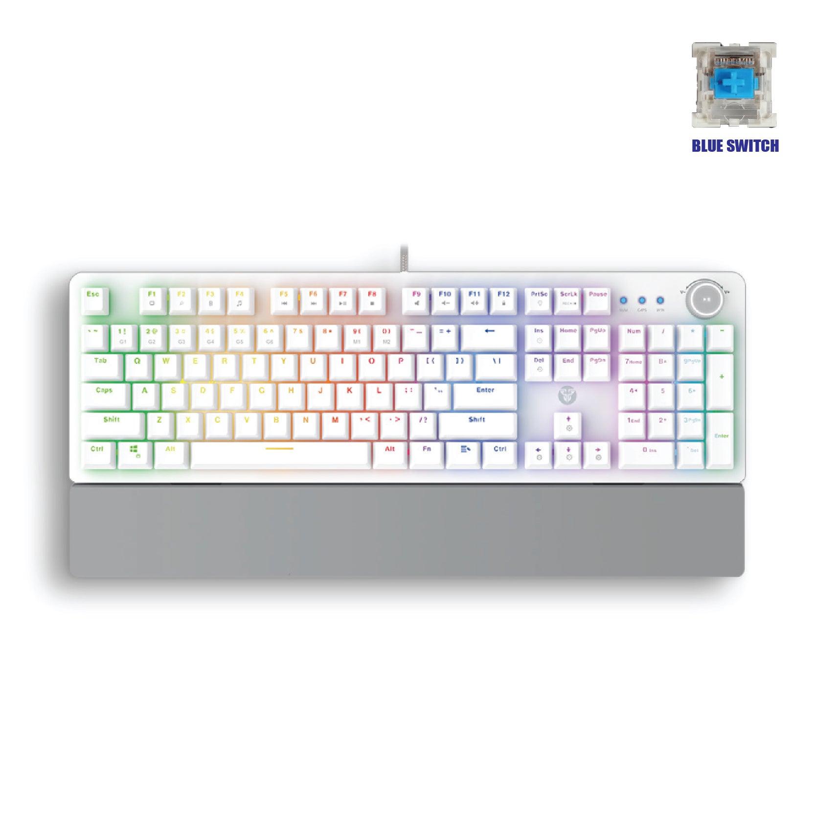Fantech Gaming PC Mechanical Keyboard RGB Backlit Anti-Ghosting Key with Wrist Rest (MK853) (White) (Blue Switch)