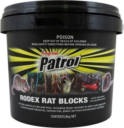 Rat Bait Amgrow Patrol Rodex Rat Blocks 2kg Rat & Mouse Bait