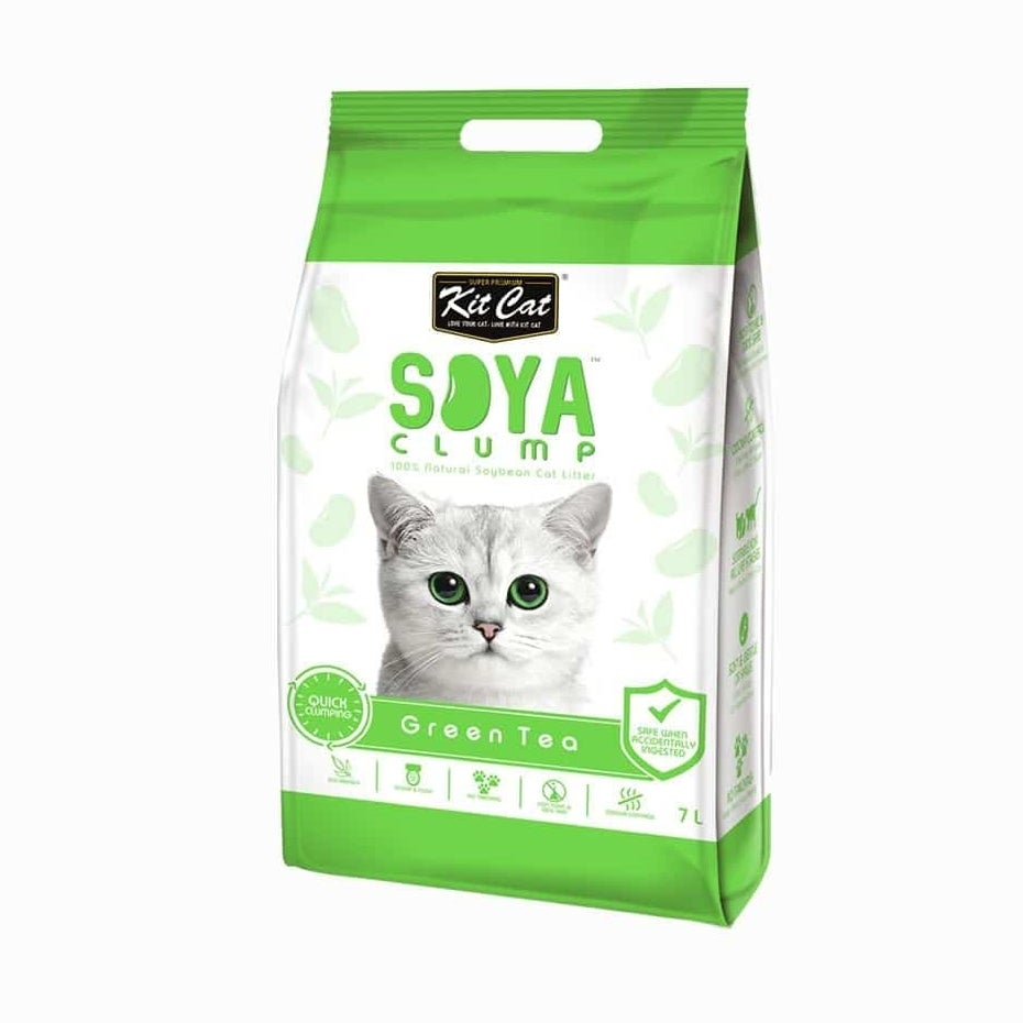 Kit Cat Soya Clumping Cat Litter made from Soybean Waste - Green Tea 7 Litres