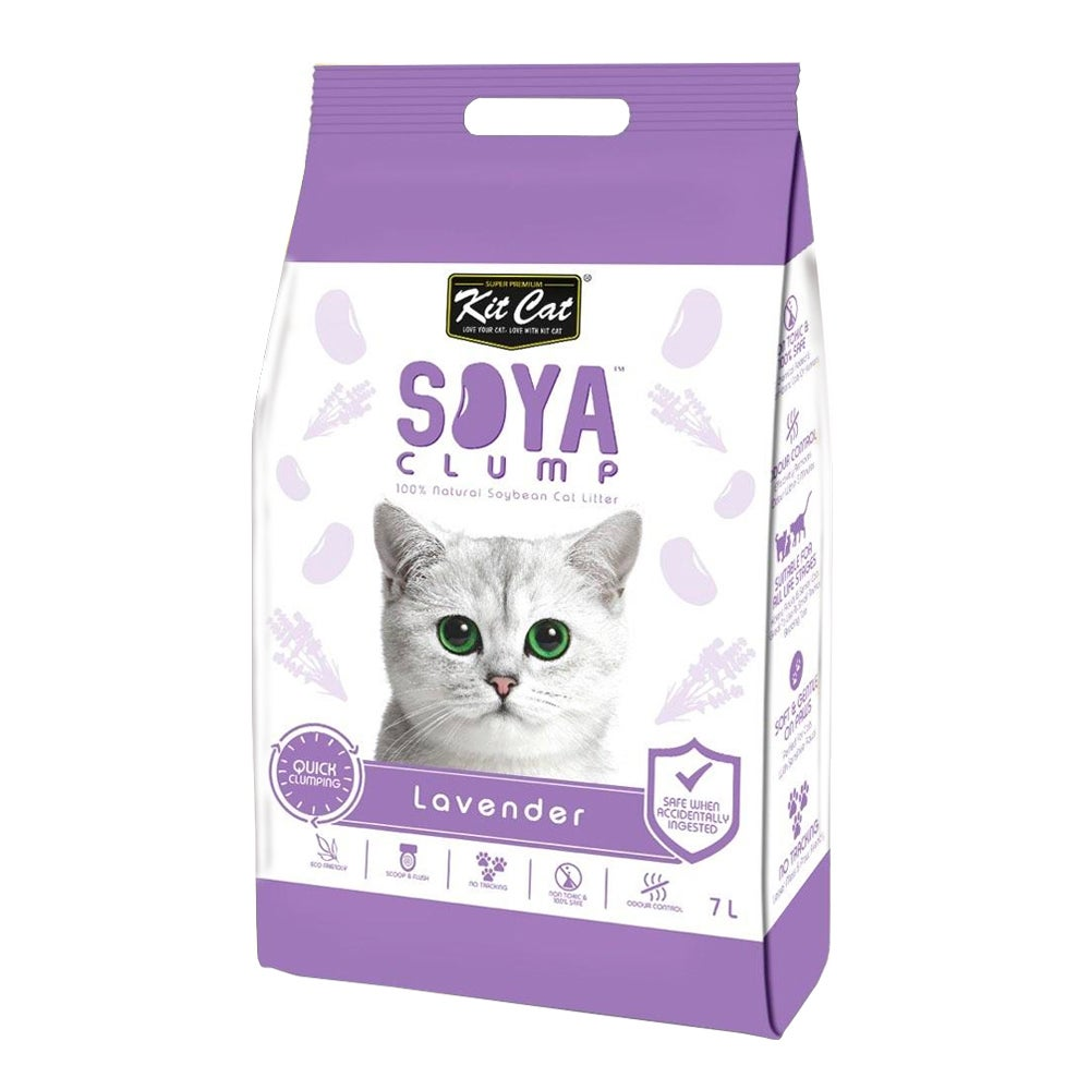 Kit Cat Soya Clumping Cat Litter made from Soybean Waste - Lavender 7 Litres